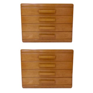 1930s Russel Wright Maple Conant Ball 4 Drawer Pier Chests - a Pair For Sale