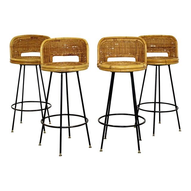Mid Century Modern Danny Ho Fong Set 4 Bamboo Rattan Iron Swivel Barstools 1960s For Sale