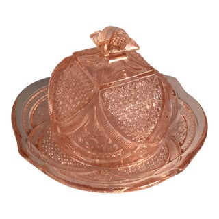 Heavy Pink Glass Butter Dish with Ornate Lid For Sale