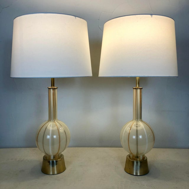 Modern 1950s Italian Murano Hand Blown Glass Lamps - a Pair For Sale - Image 3 of 13