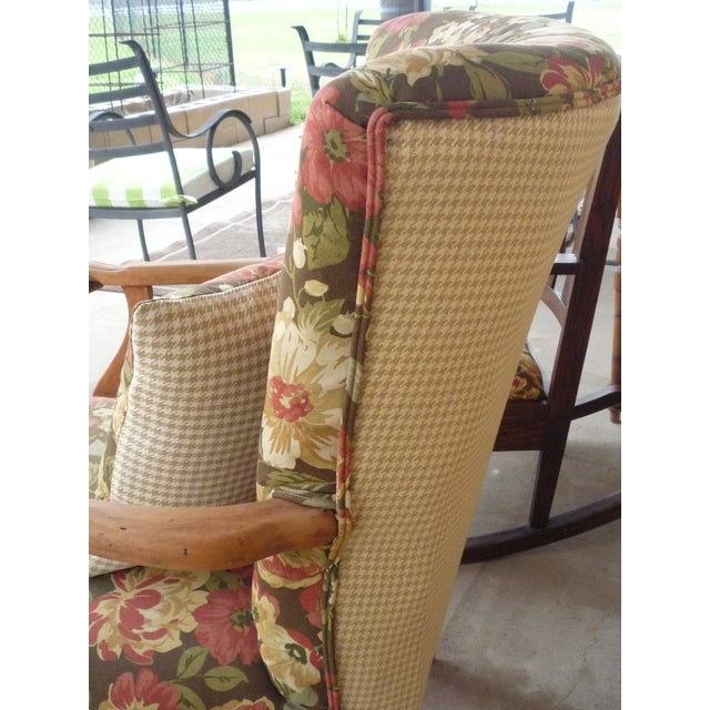Early 20th Century Antique Brown Floral Tufted Armchair & Petite Oak Rocking Chair - A Pair For Sale - Image 5 of 9