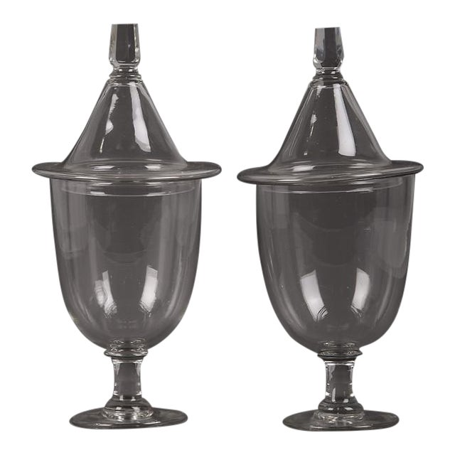 19th Century English Regency Style Glass Urns with Lid - A Pair For Sale