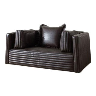 Clemence Channel-Quilted Leather Loveseat For Sale