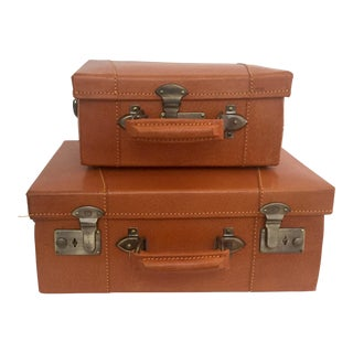 Salesman Sample Classic Leather Luggage - a Pair For Sale