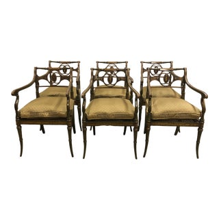 Mid 20th Century Neoclassical Regency Style Hand Painted Dining Arm Chairs - Set of 6 For Sale