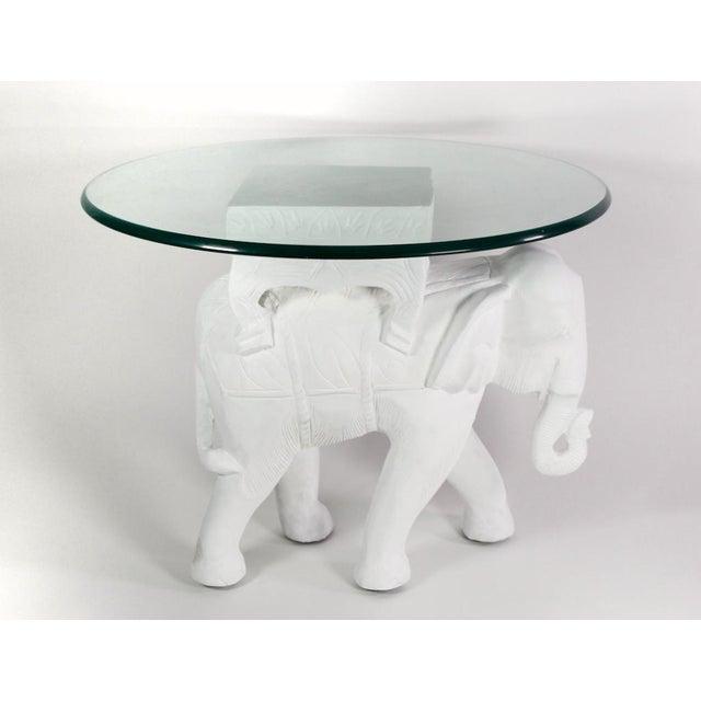 1970s Hollywood Regency White Gesso Solid Teak Elephant Side Table For Sale - Image 9 of 9