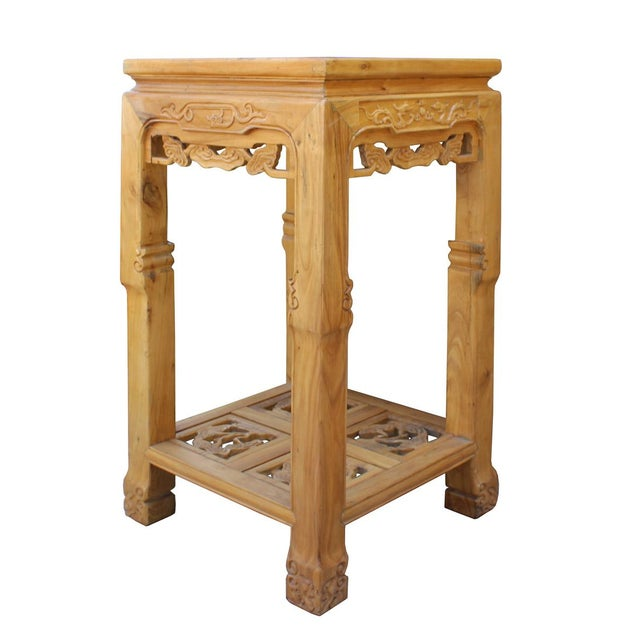 Chinese Square Carved Wood Pedestal Plant Stand - Image 4 of 6
