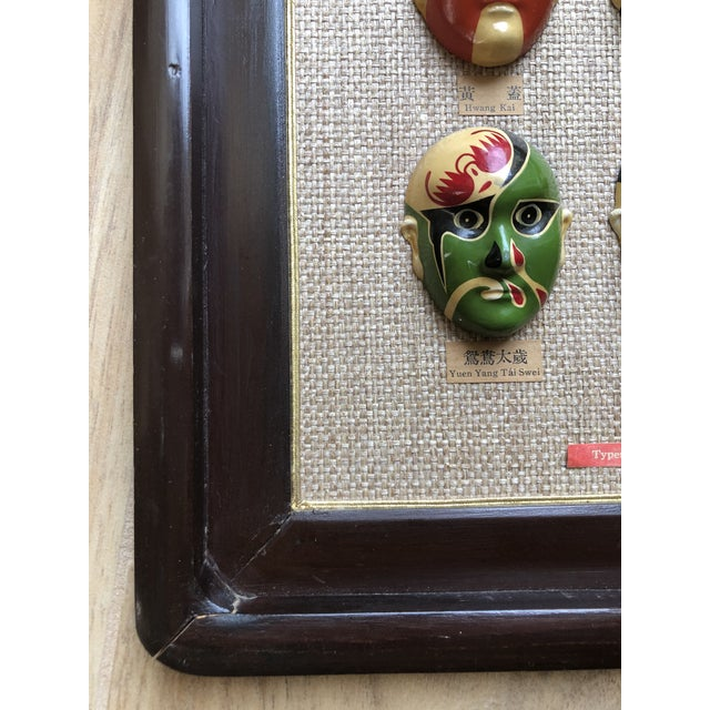 Vintage 12 Masks Chinese Wall Hanging For Sale In Miami - Image 6 of 12