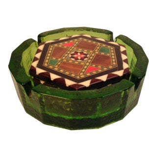Hand Painted Wooden Coasters & Green Ashtray - Set of 5