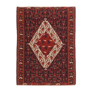 1940s Transitional Senneh Red and Beige Wool Persian Kilim Rug For Sale