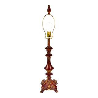 Vintage Carved Wood Look Table Lamp For Sale