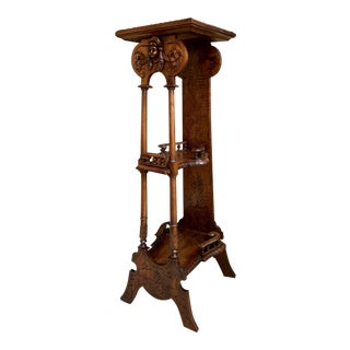 19th Century Antique French Breton Brittany Carved Oak Tall Plant Display Stand For Sale