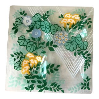 1960s Georges Briard Multi Colored Floral 4 Compartment Glass Serving Dish For Sale