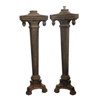 Cast Iron Exterior Claw Foot Lamp Posts - a Pair For Sale