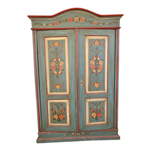 Antique Vintage Hand Painted 19th Century Armoire For Sale