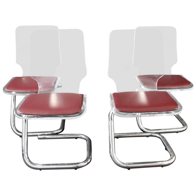 Mid-Century Modern Set of Four Lucite Dining Chairs by Luigi Bardini for Hill For Sale