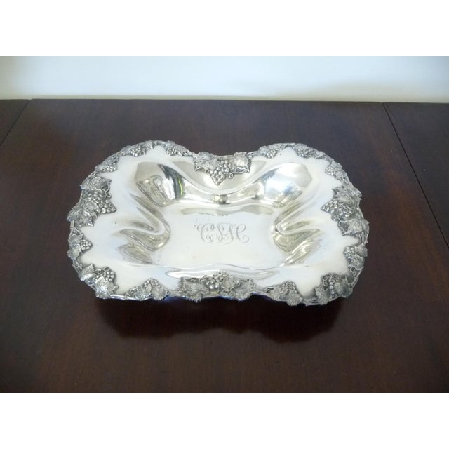 Antique Serving Tray. Originally Used As A Bread Tray Elegant Elongated Oval Shape with Ornate Decorative Edge of Grapes...