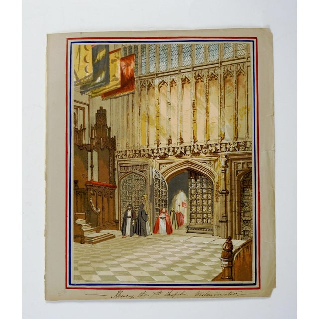 Circa 1845 colored lithograph of the Henry IIV Lady Chapel at Westminster. Unframed. Displayed mounted onto paper backing...