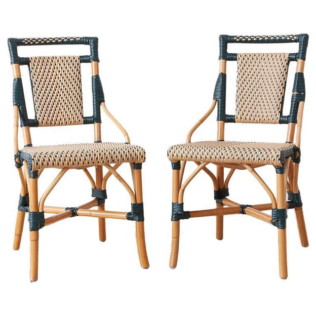 Pair of Palecek Bamboo Rattan Bistro Cafe Chairs For Sale - Image 13 of 13