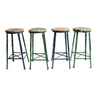 1950's Vintage Folk Art Advertising Pepsi & 7UP Stools- Set of 4 For Sale