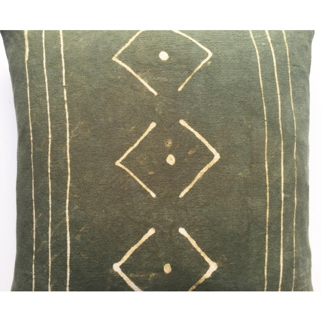 Hand-Dyed Dark Green Tribal Pillow Cover - Image 6 of 7