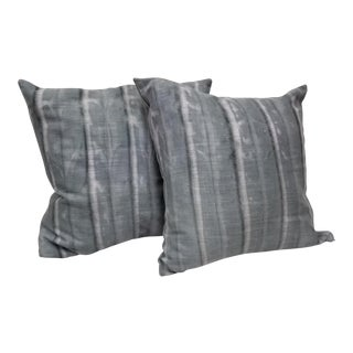 Grey Striped Pillows - A Pair For Sale