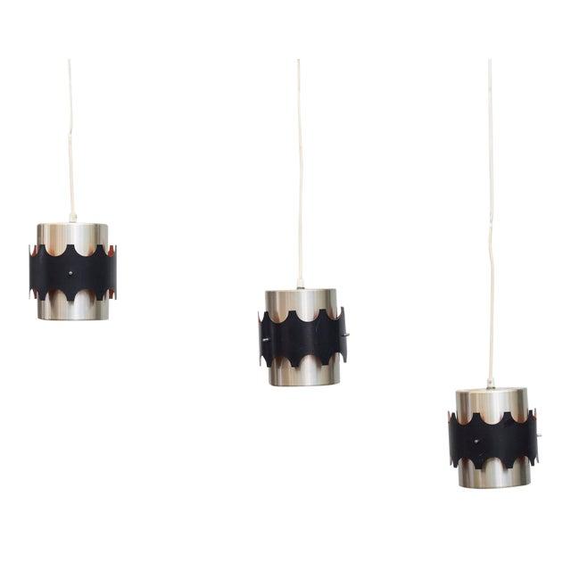 Hoogersvort Style Spun Aluminum & Black Cylinder Pendants - Set of 3 - Image 1 of 6