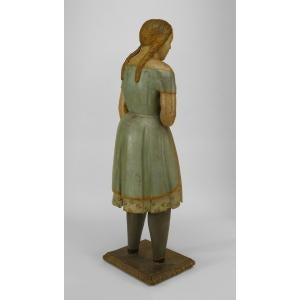 Wood American Country style life size wood figure of young girl For Sale - Image 7 of 11