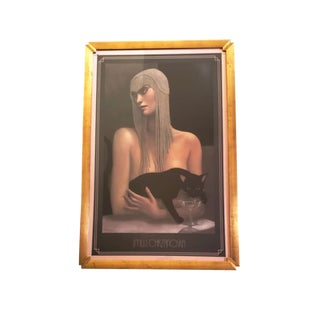 """1980s Jmw Chrzanoska """"Solitaire"""" Art Deco Inspired Woman With Black Cat Framed Lithograph Print For Sale"""