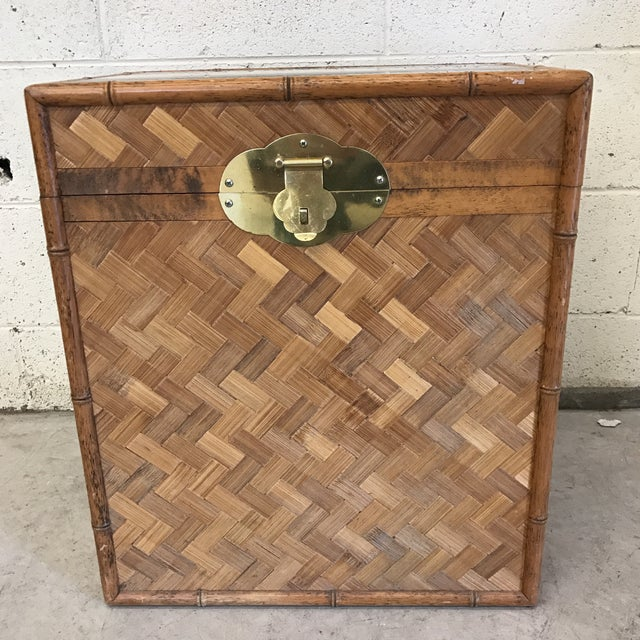 Super cute bamboo chest with bamboo frame and herringbone pattern parquet inlay and brass hardware. Bamboo and parquet is...