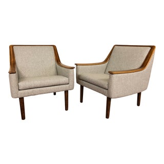 Vintage Rosewood Trim Wool Lounge Chairs - a Pair For Sale