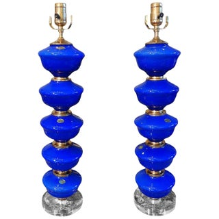 1960s Vintage Cobalt Blue Murano Glass Lamps by Balboa - a Pair For Sale