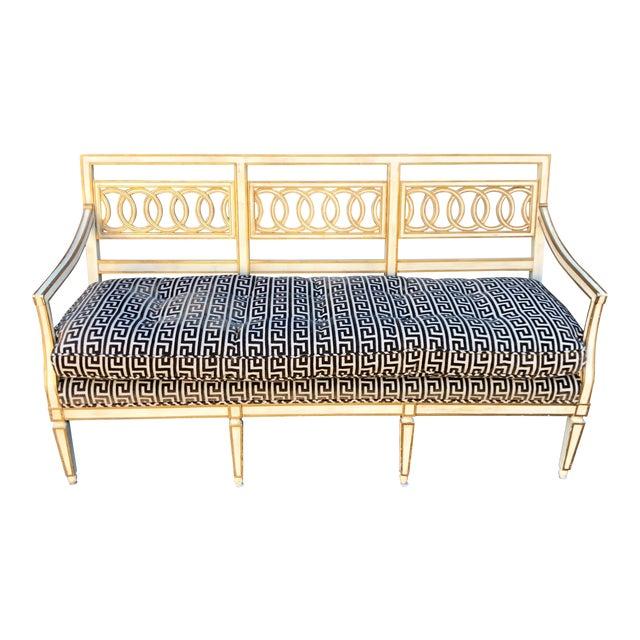 Spectacular Hollywood Regency Style Sofa Settee W Greek Key Cut Velvet For Sale