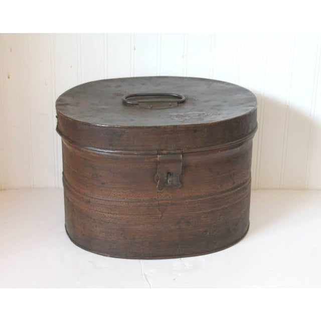 19th Century Original Brown Painted and Distressed Hat Box - Image 2 of 8