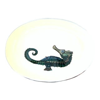 21st Century Contemporary Silver & Enamel Seahorse Oval Bowl For Sale