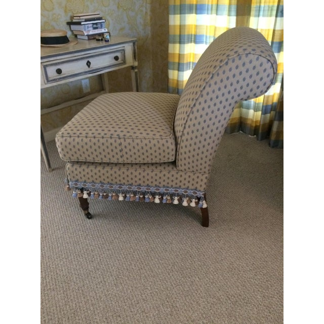 Century Furniture 1990s Traditional Pierre Frey Upholstery Cream Slipper Chair For Sale - Image 4 of 11