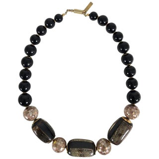 Balenciaga Mosaic Inlaid Shell Bead With Gold Necklace For Sale