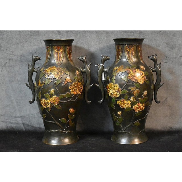 19th Century 19th Century Bronze Cloisonné & Butterfly Two Handled Vases - a Pair For Sale - Image 5 of 5