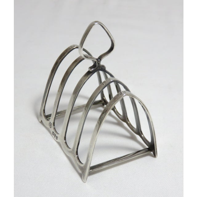 Silver 1924 Chester England Sterling Silver Toast Rack For Sale - Image 8 of 13