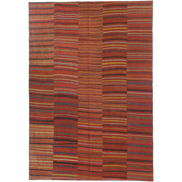 Mid 20th Century Vintage Mid-Century Turkish Jajim Kilim Flat-Weave Rug - 7′ × 10′1″ For Sale - Image 5 of 5