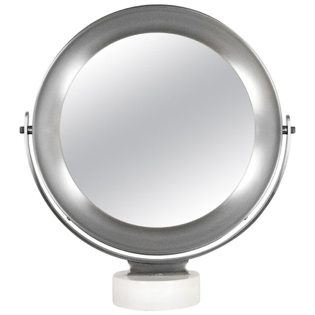 1960s Pivoting Vanity-Table Mirror by Sergio Mazza, White Marble, Italy For Sale - Image 10 of 10