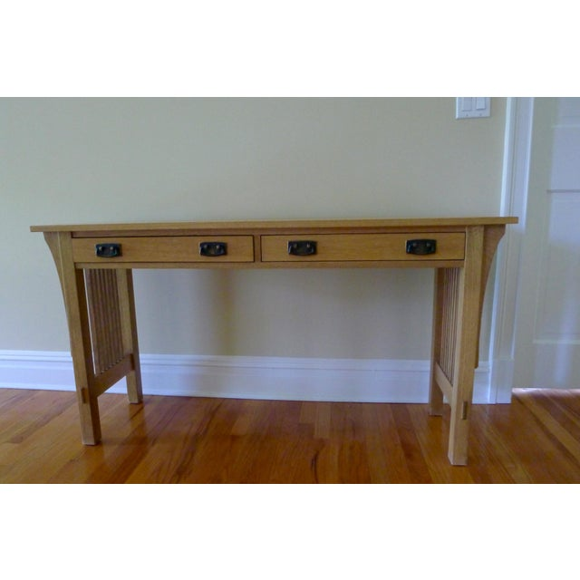 """This is a Stickley Mission Sofa Table in Oak with Stickley's Limestone finish. The dimensions are 54""""W 28.5"""" H and 16"""" D...."""