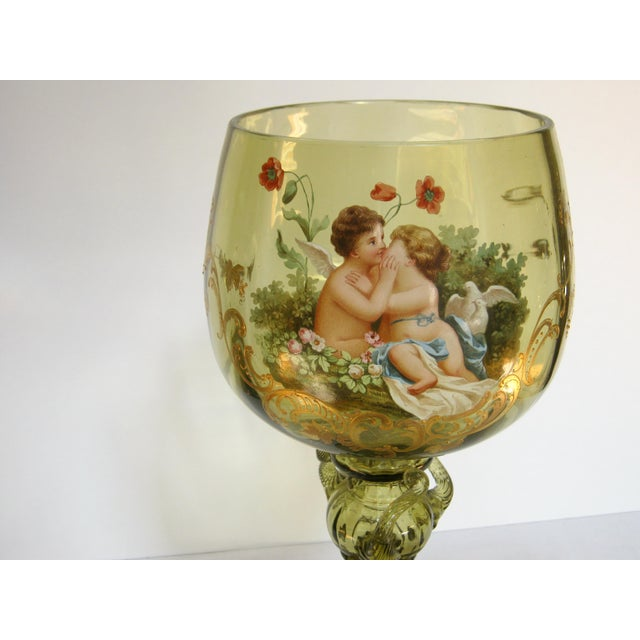 Victorian Antique Hand Painted Blown Glass Loving Chalice For Sale - Image 3 of 11