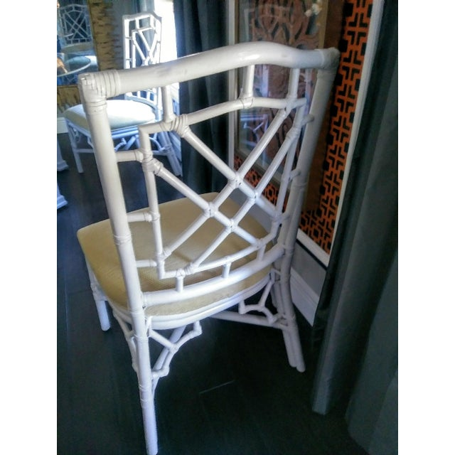 4 fabulous Palm beach regency white and pale yellow dining room Chippendale chairs . This set is so incredibly pretty with...