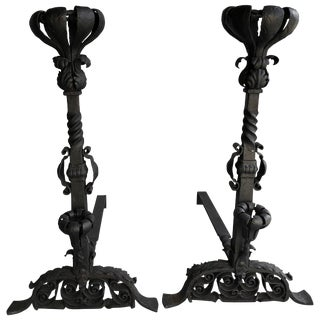 Vintage Hand-Forged Iron Andirons - a Pair For Sale
