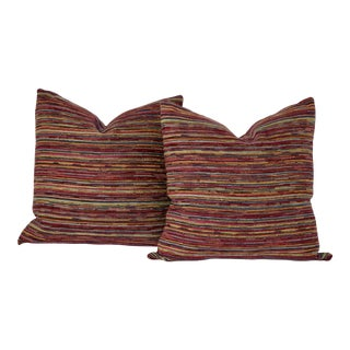 Large Woven Fabric Pillows - A Pair For Sale