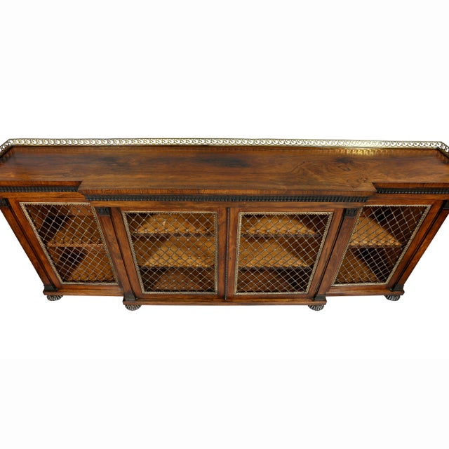 English Traditional Regency Rosewood, Ebonized and Bronze Mounted Credenza or Cabinet For Sale - Image 3 of 13