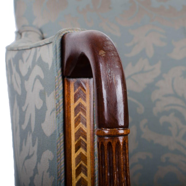 Blue Southwood Sheraton Style Inlaid Mahogany Club Chairs - A Pair For Sale - Image 8 of 10