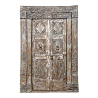 Antique Indian Teak Door and Frame From a Rajasthan Haveli For Sale