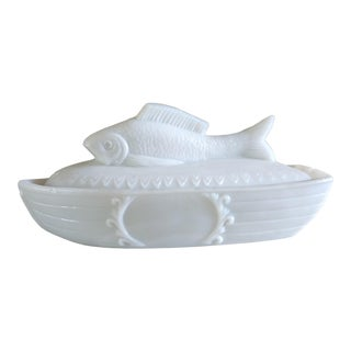 Milk Glass Fish Boat Box For Sale